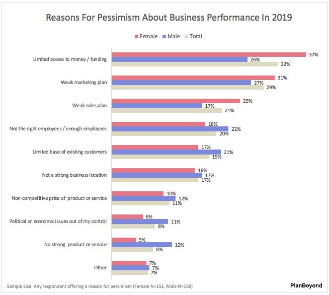 SMB Business Owner Report-Reasons for Pessimism Men versus Women