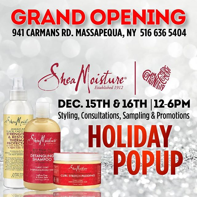Super excited to announce the Grand Opening of our sister store at 941 Carmans Road in Massapequa Long Island! To kick things off right we're having two days of hair styling, consultations, sampling and product promotions on Dec. 15-16 from 12-6pm, hosted by none other than Shea Moisture at our new location! You don't wanna miss this one! To secure your spot for styling services at this event please RSVP to: info@popcornbeauty.com . . . . . #beauty #beautyblog #beautyblogger #beautyproducts #massapequa #longisland #longislandny #longislandbeauty #cosmetics #makeup #instabeauty #hair #hairstylist #limua #mua #Instamakeupartist #makeupaddict #haircareproducts #longislandmua #makeupartist #hairproducts #hairextensions #wigs #makeupobsessed #stylist #hairandmakeup #popcornbeauty