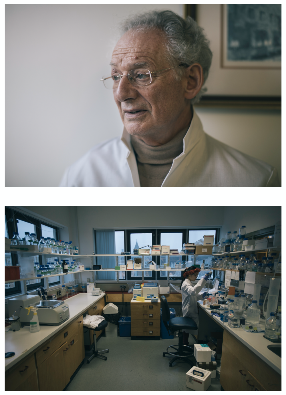 Professor Raymond Dwek (top) and a research lab in the Glycobiology Institute (bottom).