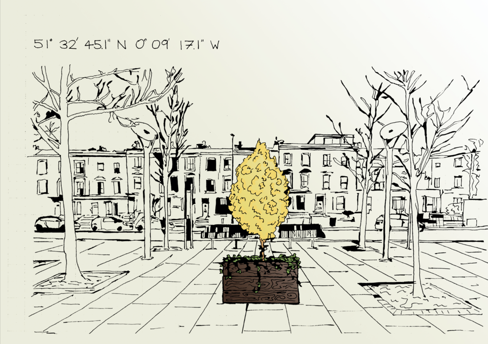 Design for Key Site 02 (Yellow Poplar with English Ivy) - Prince of Wales Road, NW5 3QB. Design by Charlie Lahyani.