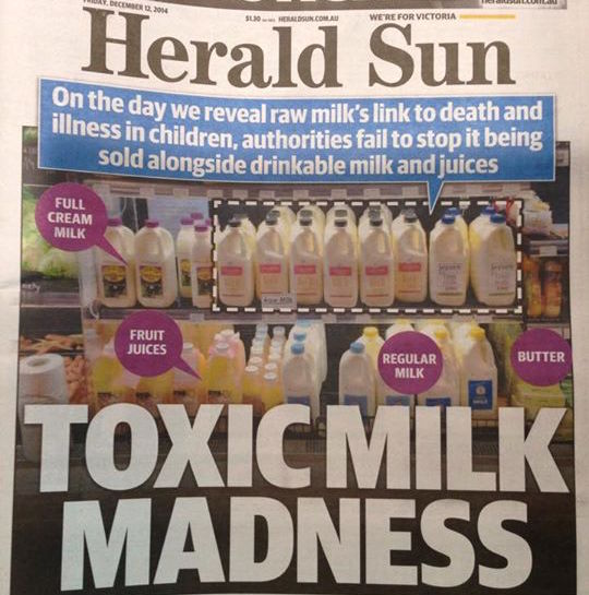 Grant McArthur's Herald Sun front page 12 Dec 2014, online article  here . This image shows just how popular 'bath milk' was in some of the smaller stores. Click to enlarge.