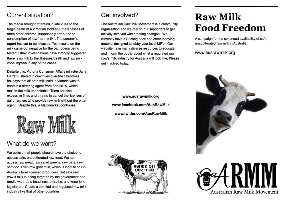 raw milk campaign brochure australian raw milk movement
