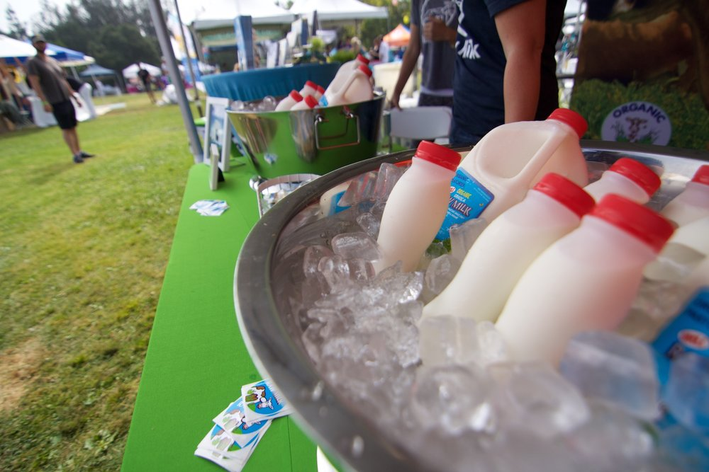 Photo:  Raw milk for sale at a farmers market. Organic Pastures have been selling raw milk in California for 17 years.