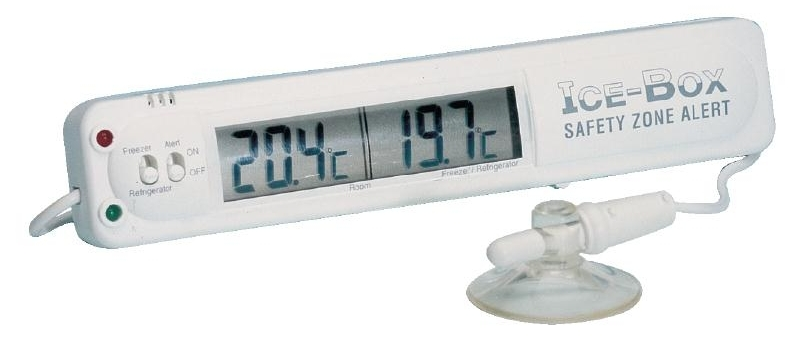 Image:  Hygiplas Fridge/Freezer Thermometer with alarm available for purchase here.