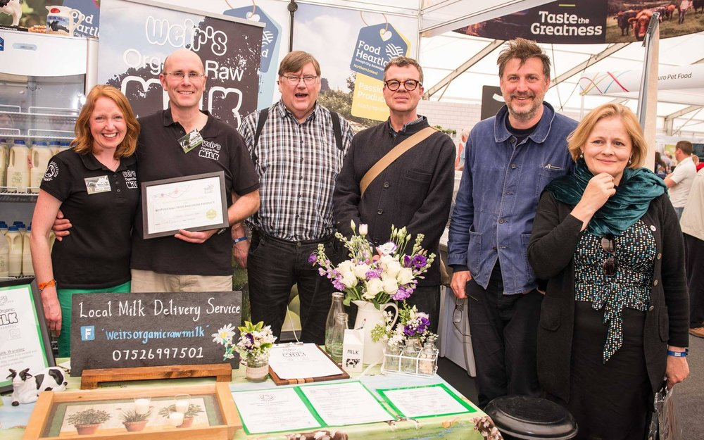 Image:    with the food judges awarding Weir's Organic Raw Milk with the Overall Best Food and Drink Product in the NI Food Pavillion. With Charles Campion, Jeremy Lee, Lucas Hollweg and Xanthe Clay.