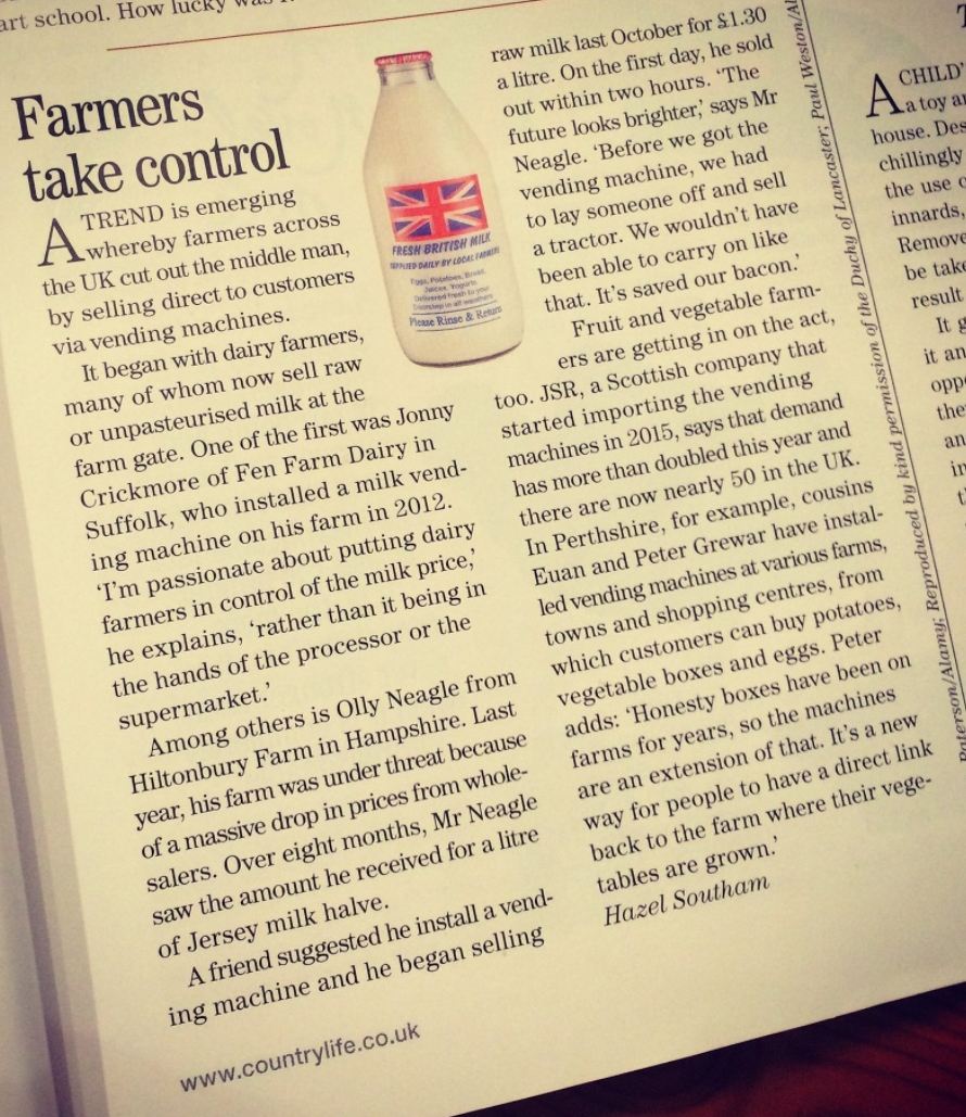 Image  : this article appeared in Country Life magazine in September 2017 posted by  CountryGirl .Click to enlarge. Click here for an article about  Fen Farm Dairy .