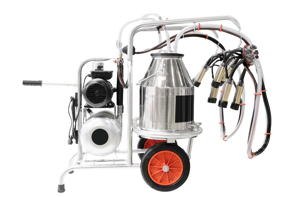 Image:   A mobile milking machine typically used in micro dairies, click to enlarge image. To see how they work in action, watch  this video .