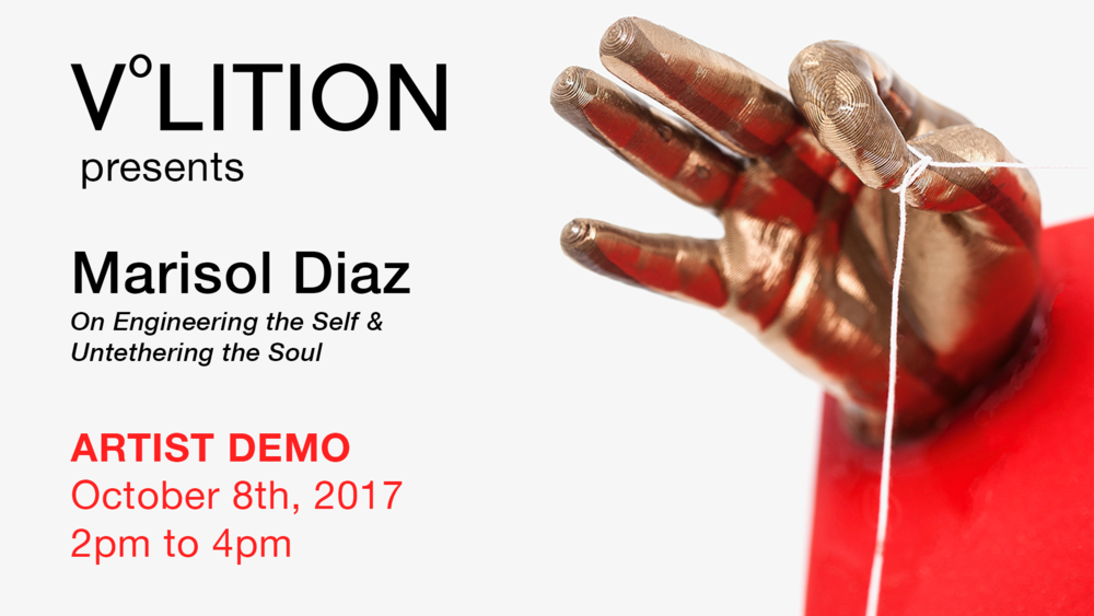 "Please join Marisol Diaz on  Sunday, October 8 from 2 - 4pm  for a demonstration on how this artist incorporates 3D printing and resin casting into her exhibition entitled ""Engineering the Self & Untethering the Soul"" at V°LITION gallery of Bell-ans Center of Creative Arts. Marisol will be using a maker-bot 3D printer running the simple 3D modeling interface software called Tinkercad. In addition, she will cast one of the elements from my exhibit in two-part epoxy bar-top resin.   Photo credits to Luis Bruno. Luis Bruno Photography Luis Bruno @lbfoto318 instagram"