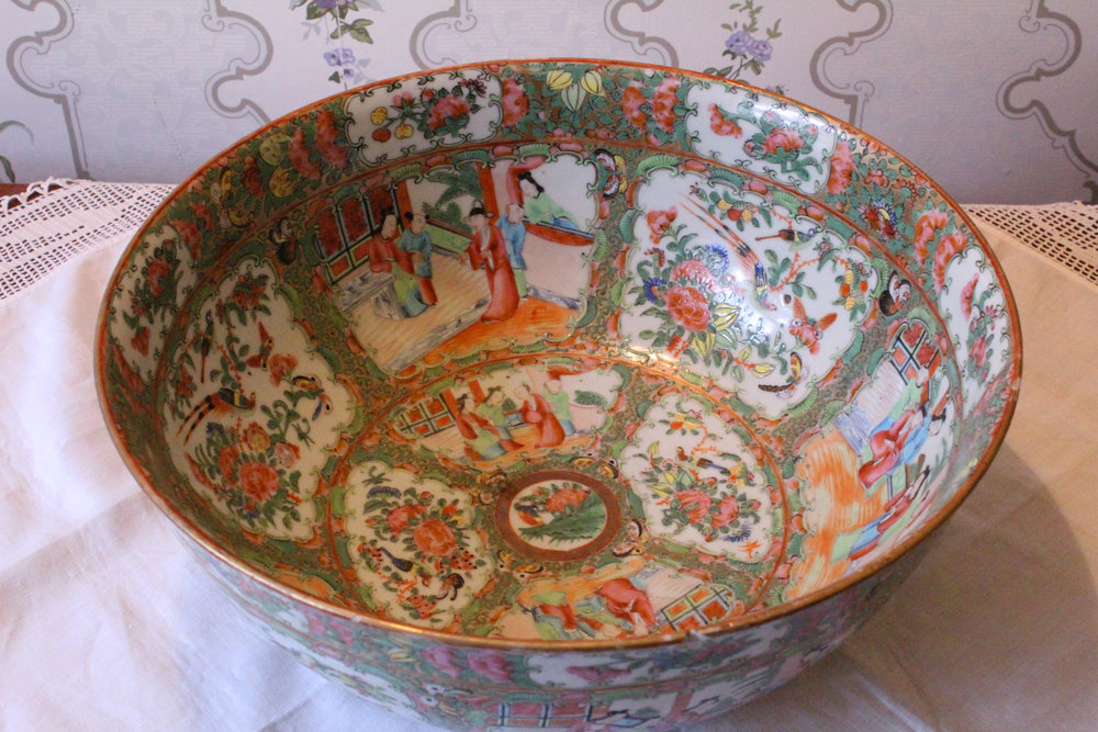 Lady Macdonald's Punch Bowl    Large adoptable, $300 donation   This porcelain bowl is one of the few items that belonged to the Macdonald family in the Dalnavert Museum collection. It was made during the late Qing dynasty (ca. 1875) in Jingdezhen, China, which has been known for its porcelain manufacture for over a thousand years. Even though it was made specifically for the export market, this bowl would have been a mark of status in the days before  everything  was made in China. Lady Macdonald used it as her punch bowl.