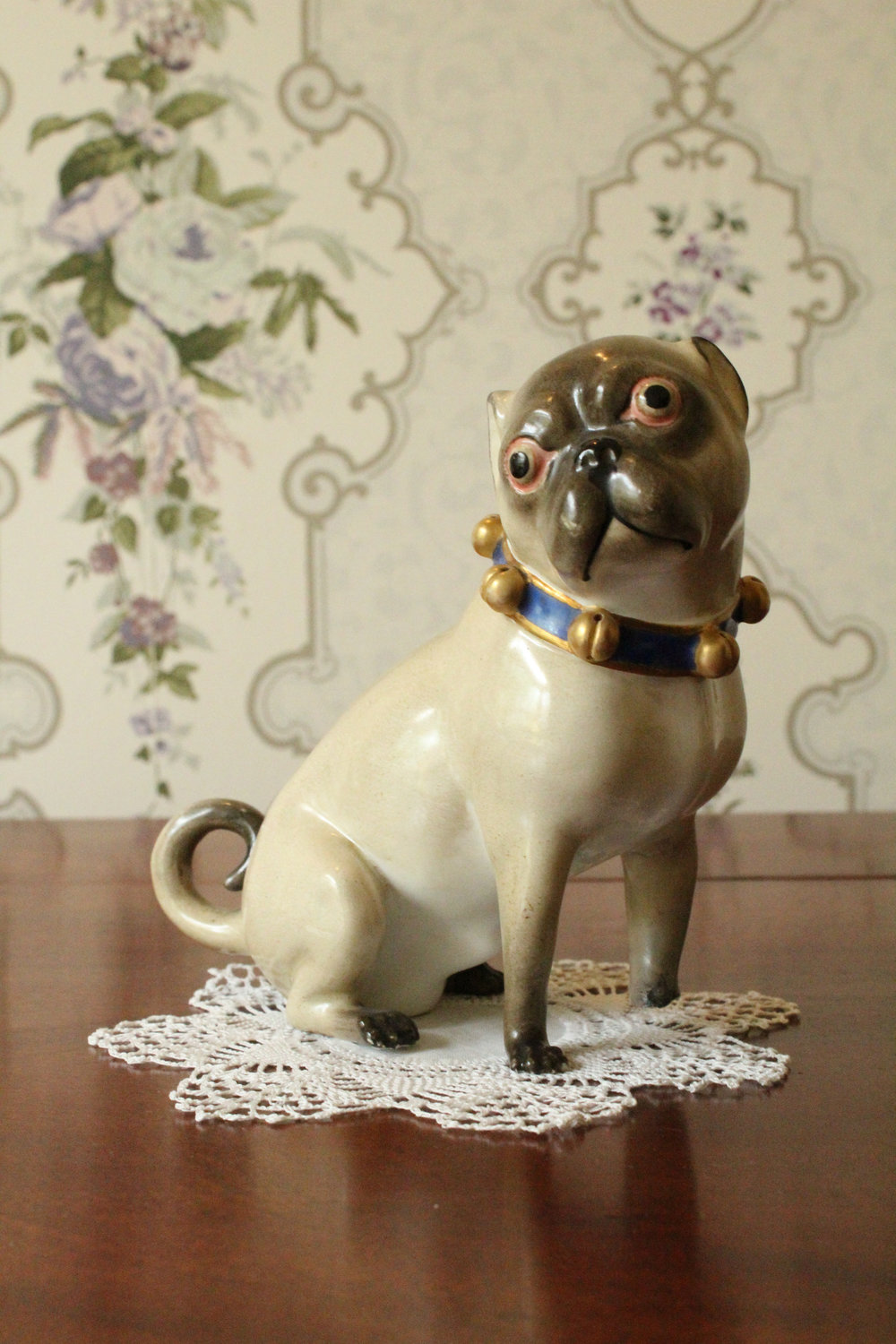 Ceramic Pug    Medium adoptable, $100 donation   Lady Macdonald was very fond of her pug, Brandy. She was so fond of him that after Brandy died, she got a taxidermist to stuff him, and displayed the pug in a wooden cage in the parlour. Alas, when Lady Macdonald sold the contents of the house after Sir Hugh's death in 1929, loyal Brandy sold for only fifty cents.We are offering this piece for adoption in memory of dear Brandy. It is also a fine example of the kind of china that Lady Macdonald would have collected.