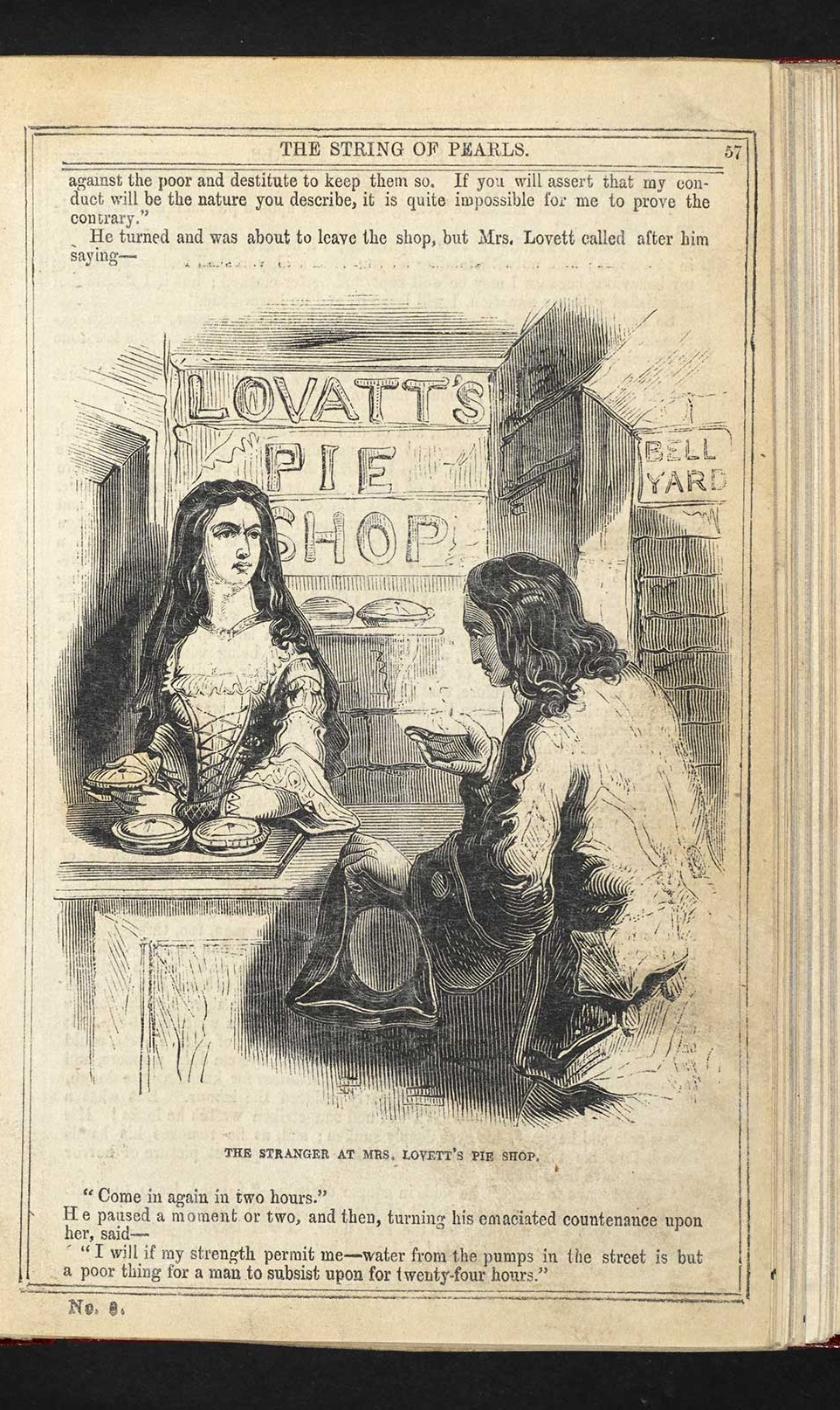 The String of Pearls , the Penny Dreadful that first introduced the characters of Sweeney Todd and Mrs. Lovett. Source: www.bl.uk/romantics-and-victorians/articles/penny-dreadfuls#