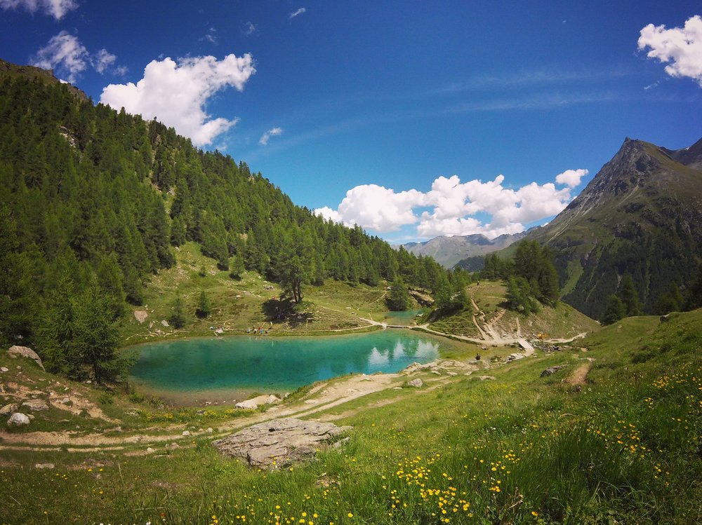 Day 7:   Lac Bleu, La Gouille, Arolla   Like bad questions, no such thing as wrong turns. Just above 2,000 meters it's a dip for some and dirt for others.