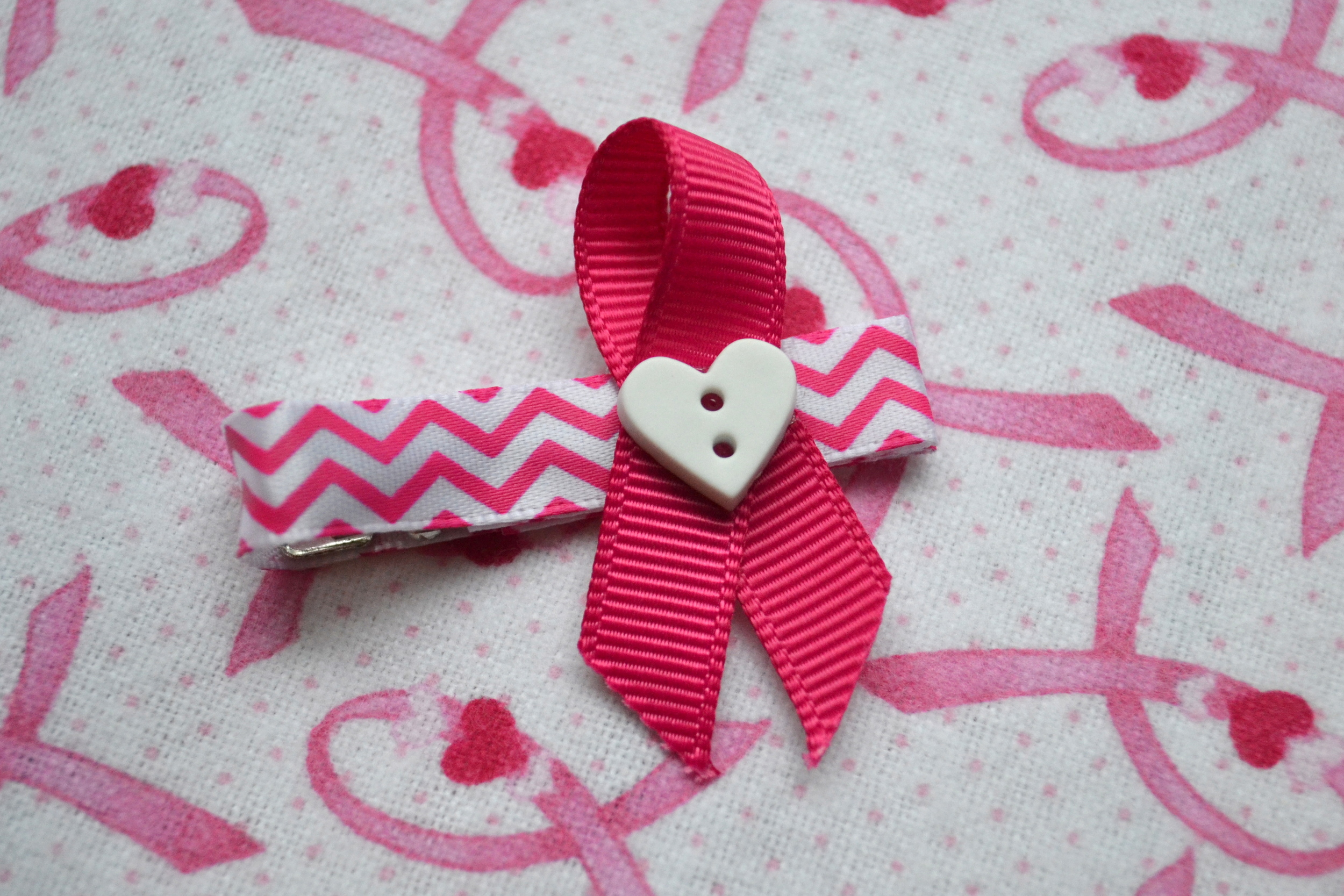 breast cancer ribbon hair clip