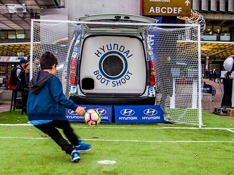 HYUNDAI A-League Boot Shoot - Hyundai maximised their partnership with the A-League by executing a Boot Shootgame at half time. Little Mill converted the car, made the surrounding net & signage and installed it for matches across the country.