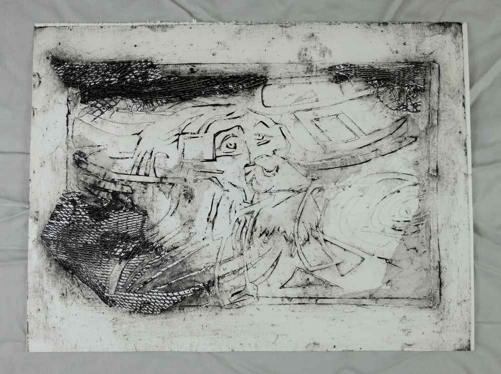 "(Guilmette 2016), 9 x 12"", collograph print"