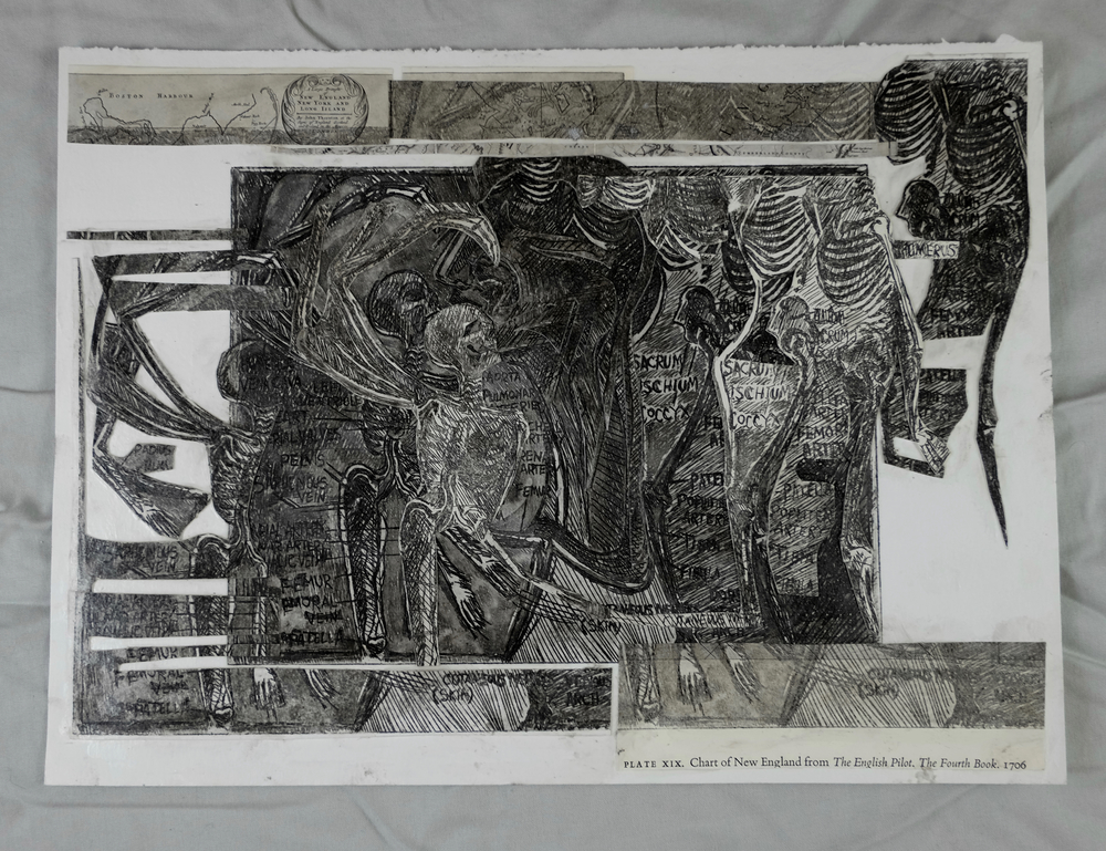 "(Guilmette 2016), 9x12"", drypoint print, collage"