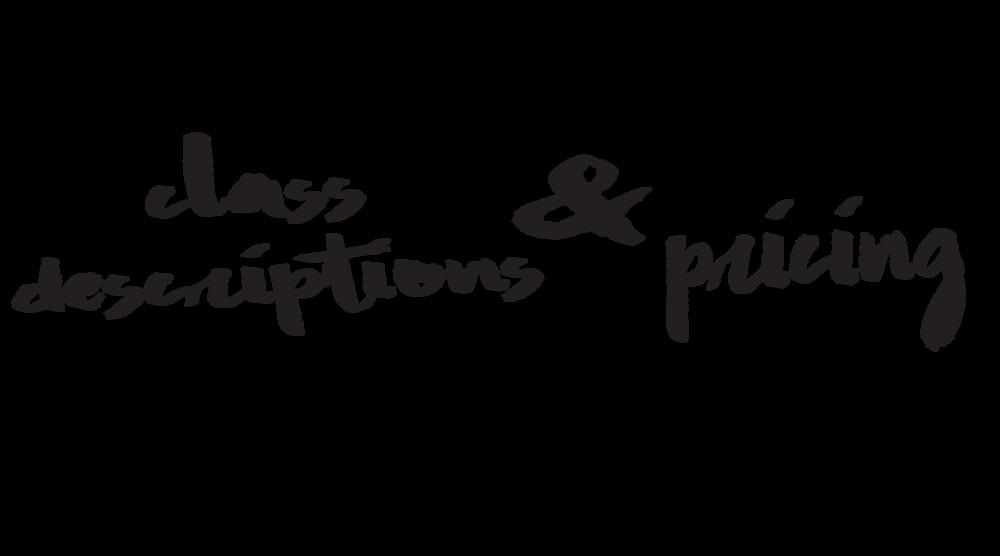 class descriptions & pricing