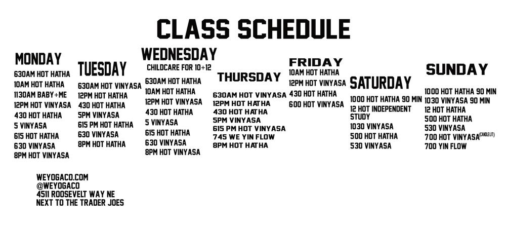 class schedule https://clients.mindbodyonline.com/classic/admmainclass?studioid=15360#an3