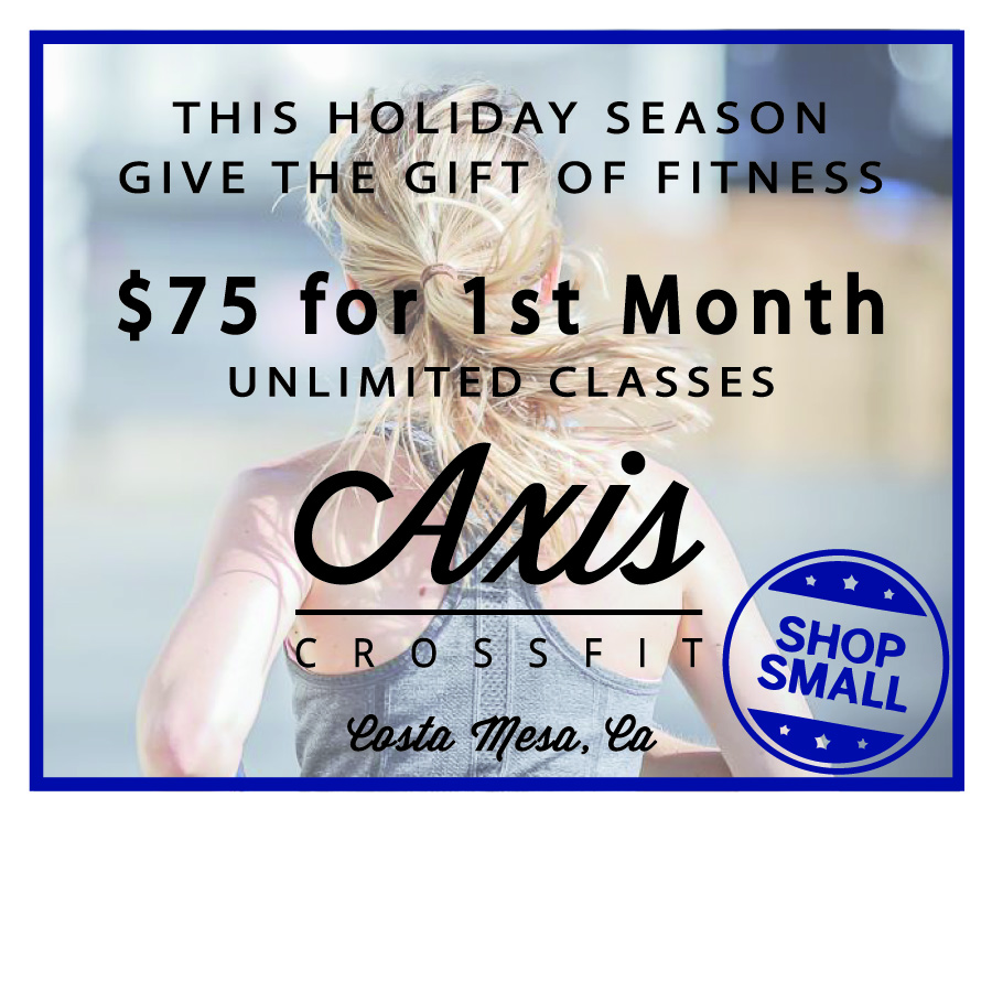 This offer is only valid for your first month of membership at Axis CrossFit. Limit 1 per person, but may purchase 2 additional vouchers as gifts. Offer must be redeemed within 3 months of purchase date, or may redeemed for amount paid after that. This offer may not be combined with any other offers. Please email with any questions: info@axiscrossfit.com.