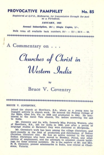 B. V. Coventry, Churches of Christ in Western India, PP 85