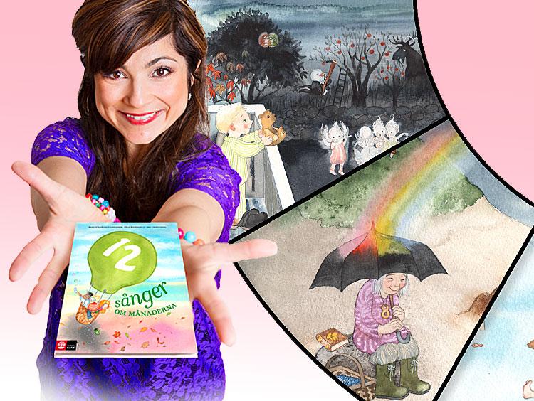 Ayla med boken. Till höger Anes bild av regnbågen i augusti.