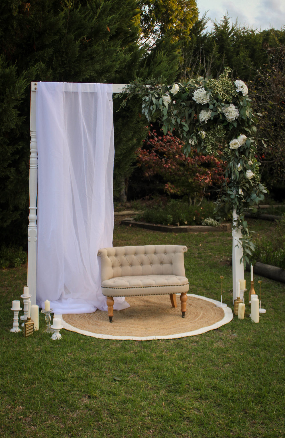 White Post Arbour $200.00 (draping optional)