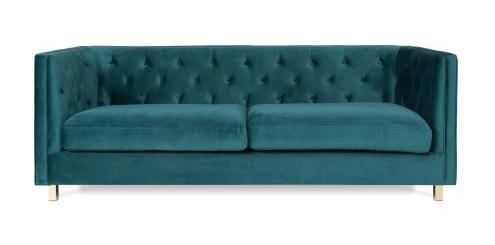 Teal Chesterfield Velvet Sofa $375