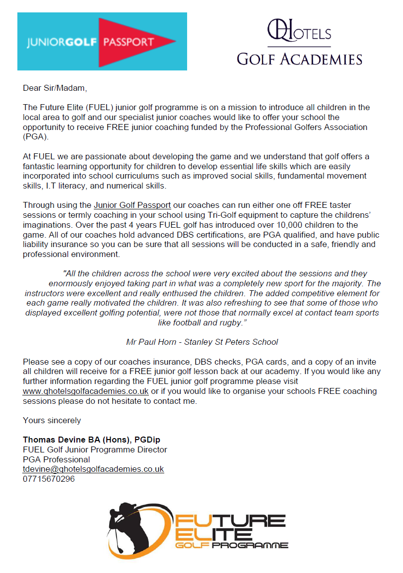 Oulton Golf - Free Offer letter