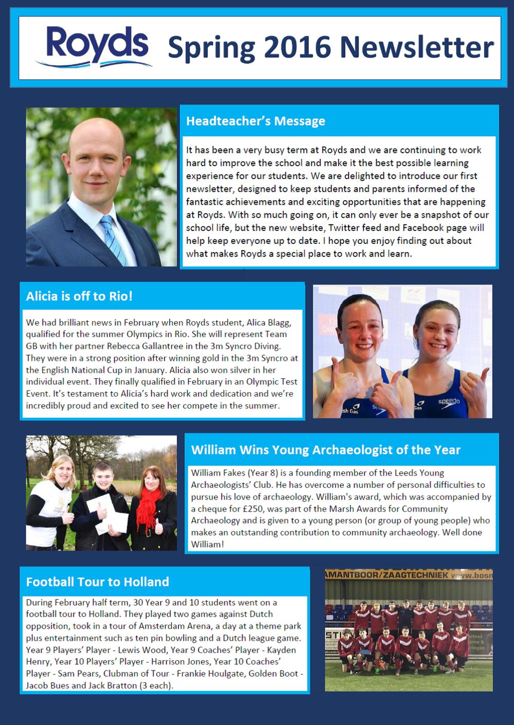 Royds Spring 2016 Newsletter
