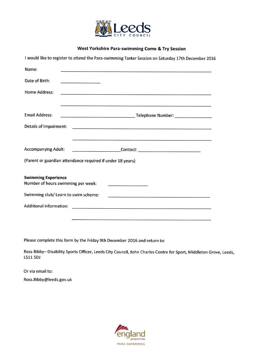 West Yorkshire - Para- Swimming Application form