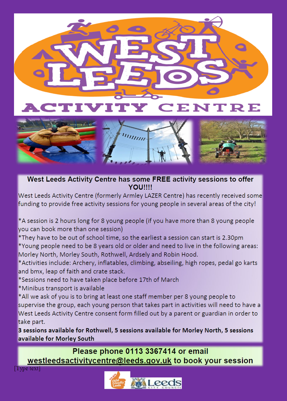 West Leeds Activity Centre - Free Offer