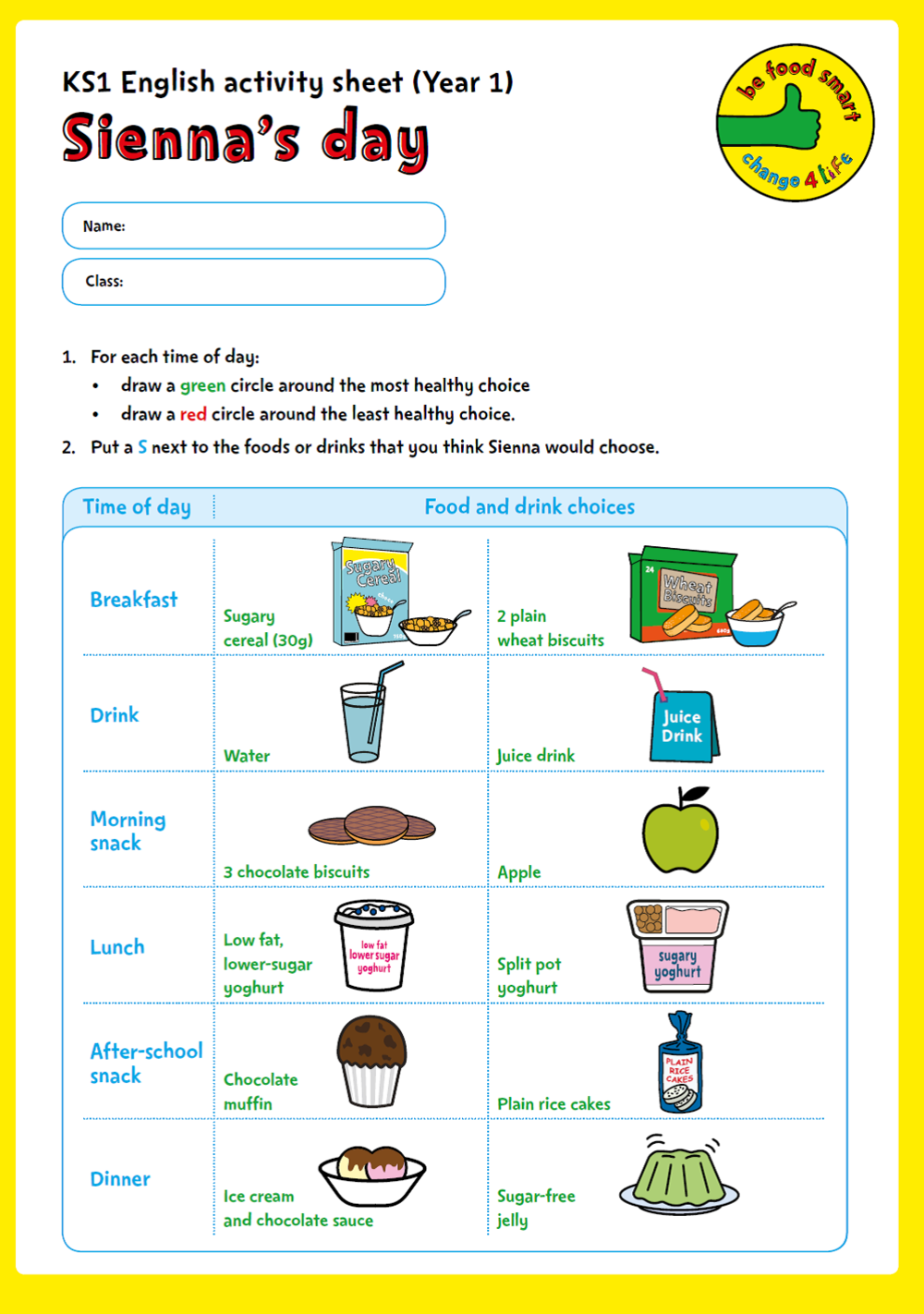 C4L - BFS - Yr1 Activity sheets