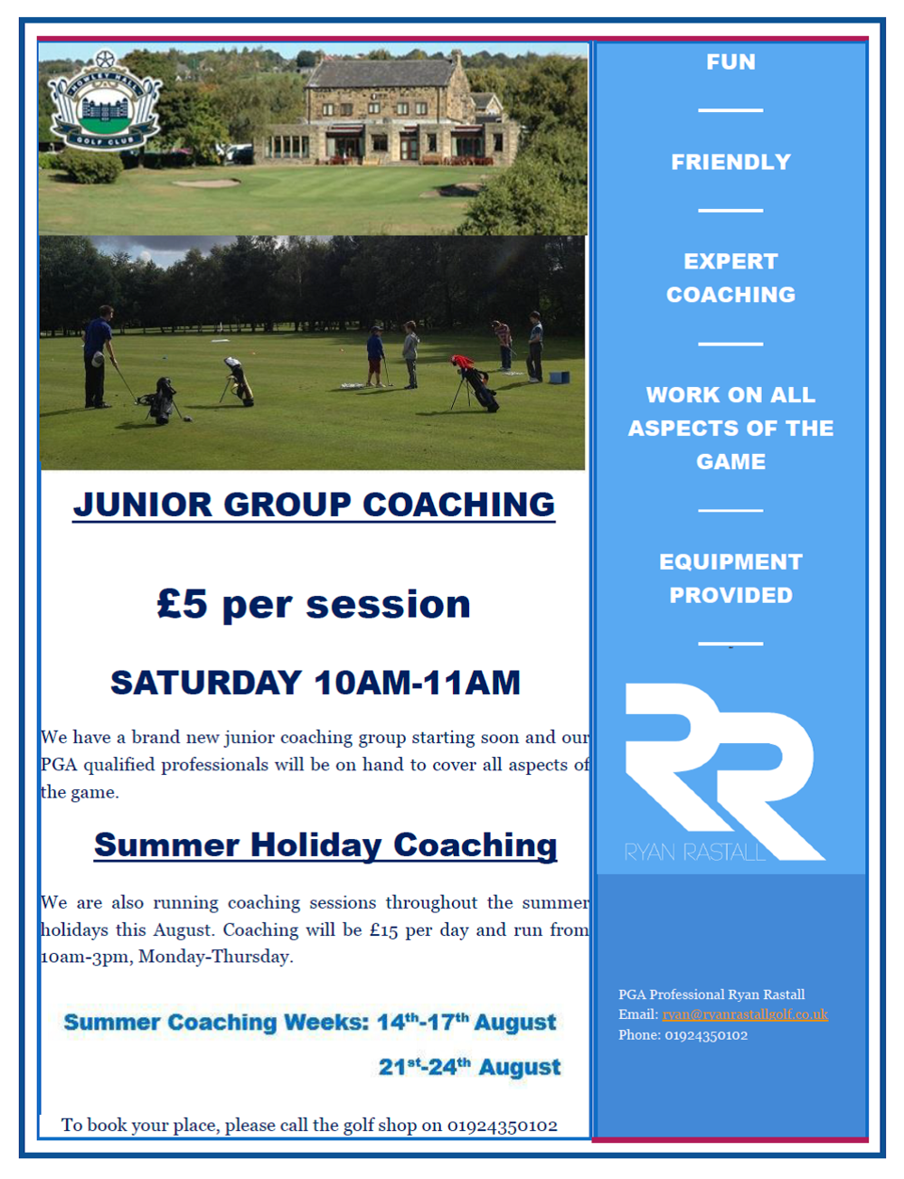 Howley Hall Golf Club - Summer Holiday coaching