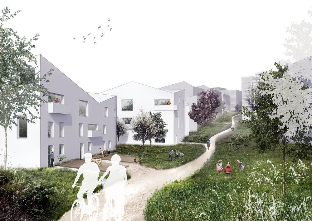 Bomiljø med rekkehus og grønne fellesarealer.