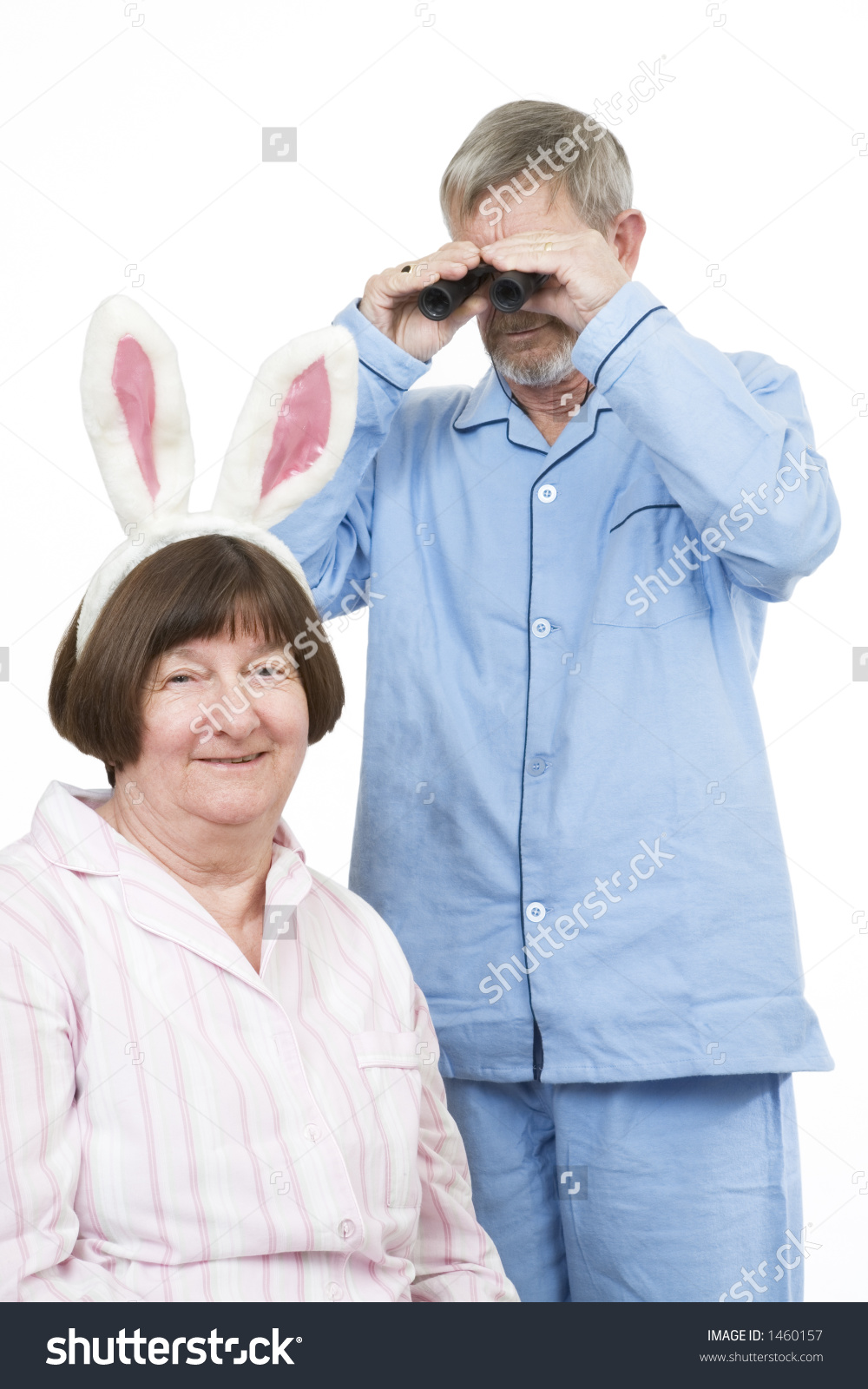 Title: Senior couple where is the rabbit He's obviously searching for new glasses