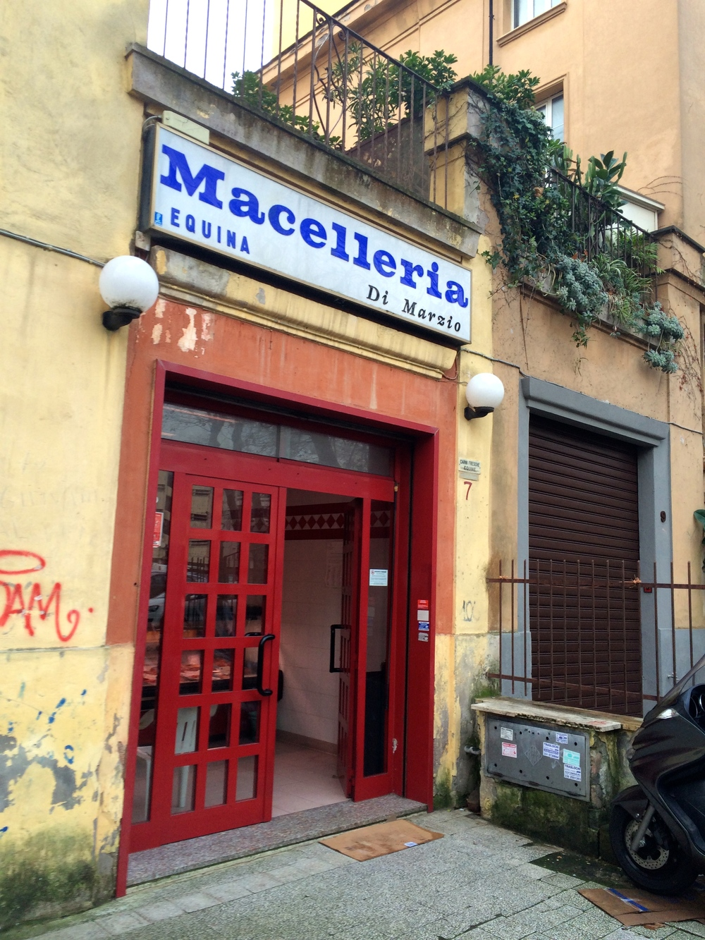 A photograph of the front entrance to a horse butchery in Rome