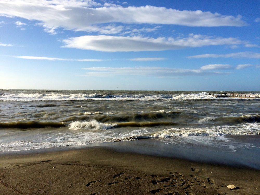 A photograph of the sea at Ostia, Italy.