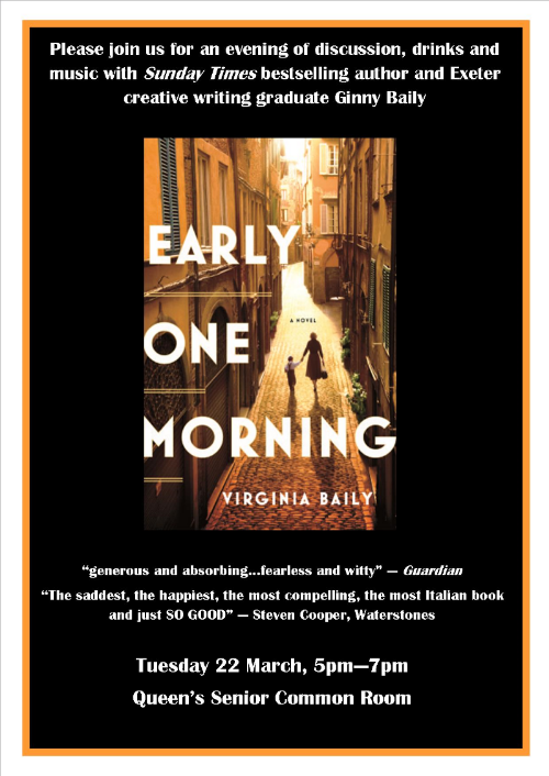 poster advertising free Early One Morning novel event