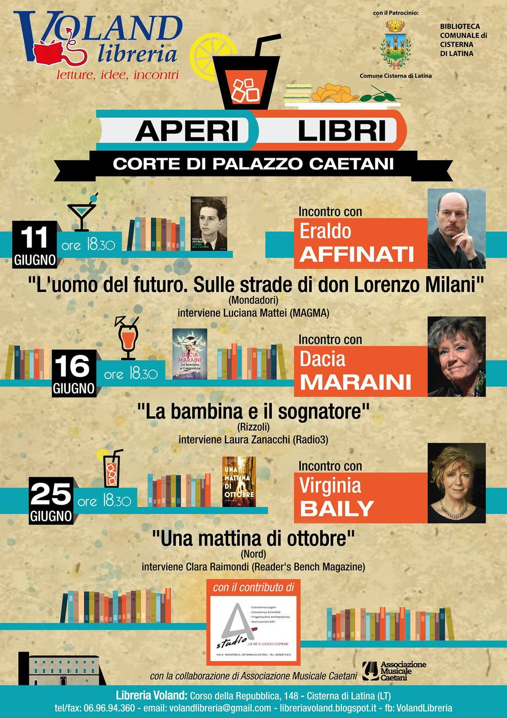 Voland libreria bookshop poster about June literary events.