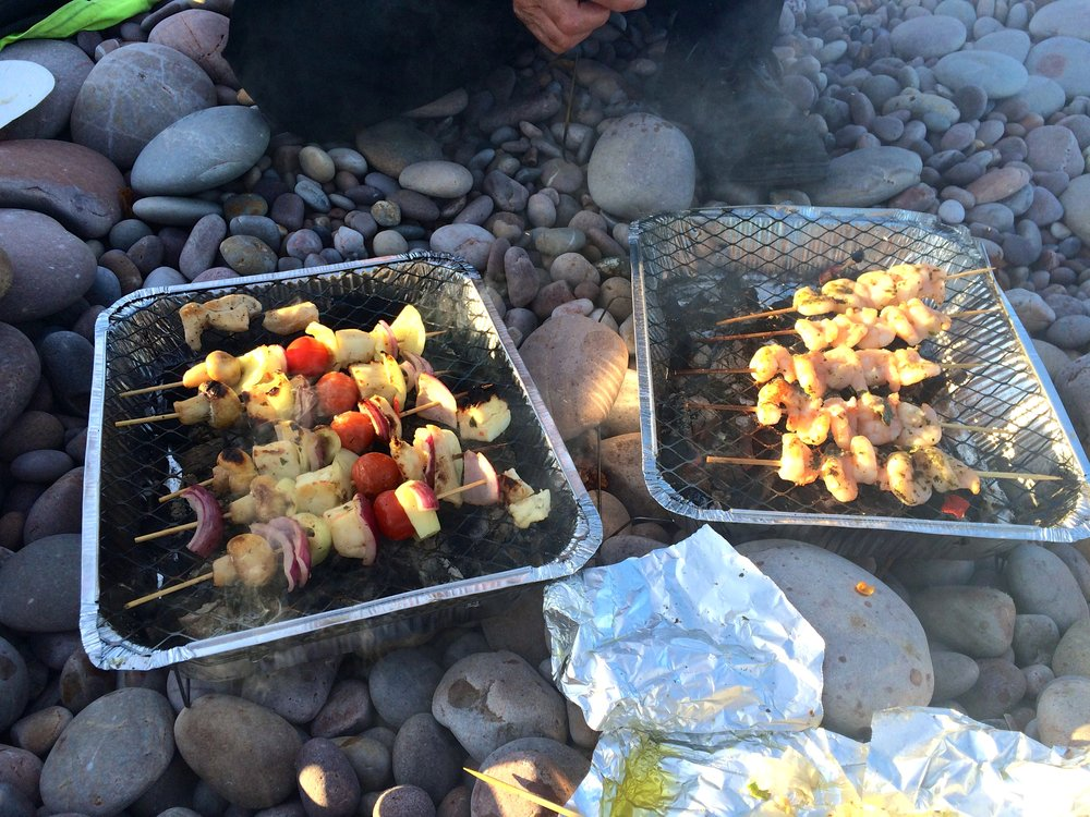 prawn kebabs on the beach