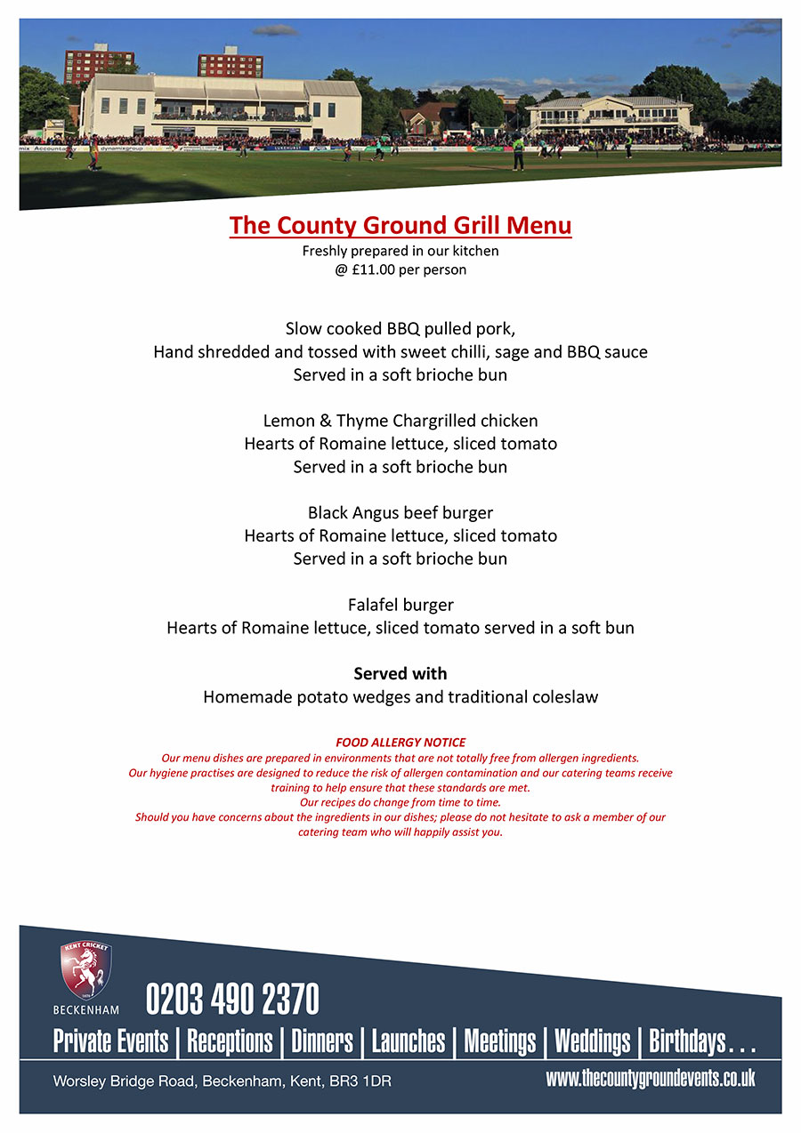 The County Ground Grill Menu
