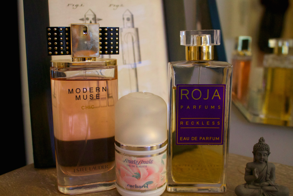 A few of my favourite florals - Estee Lauder Modern Muse Chic, Anais Anais and Roja Dove's Reckless