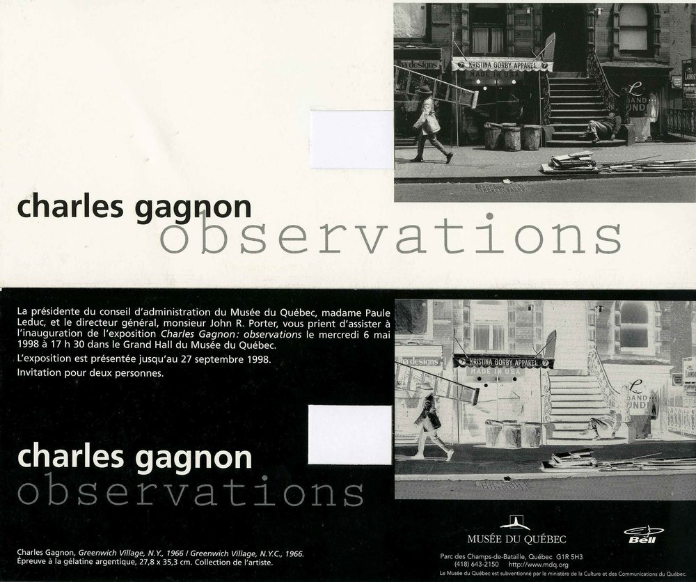 'Observations' invitation, Musée du Québec, 1998