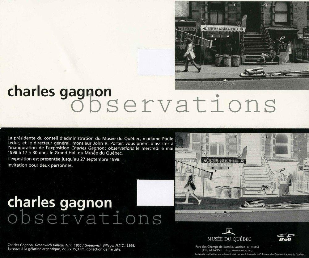 Invitation à 'Observations', Musée du Québec, 1998