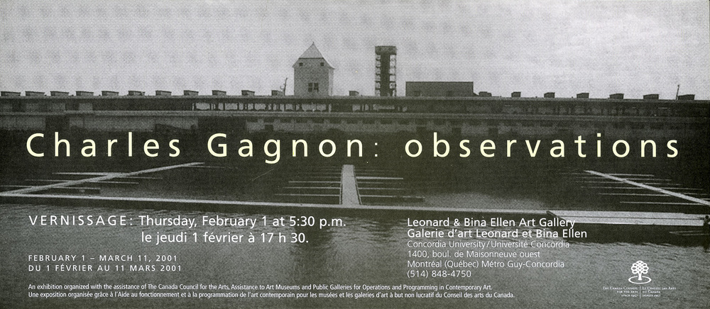 'Observations' exhibition invitation, Leonard & Bina Ellen Art Gallery, 2001