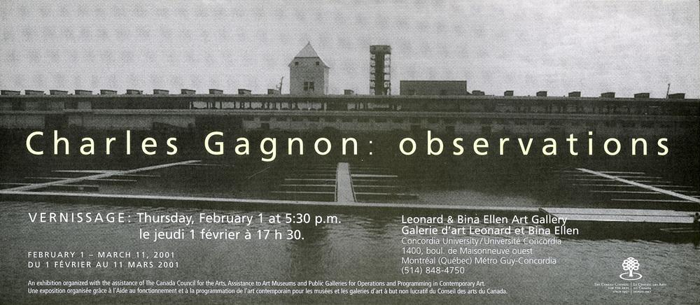 Invitation à l'exposition 'Observations', Galerie Leonard & Bina Ellen, 2001