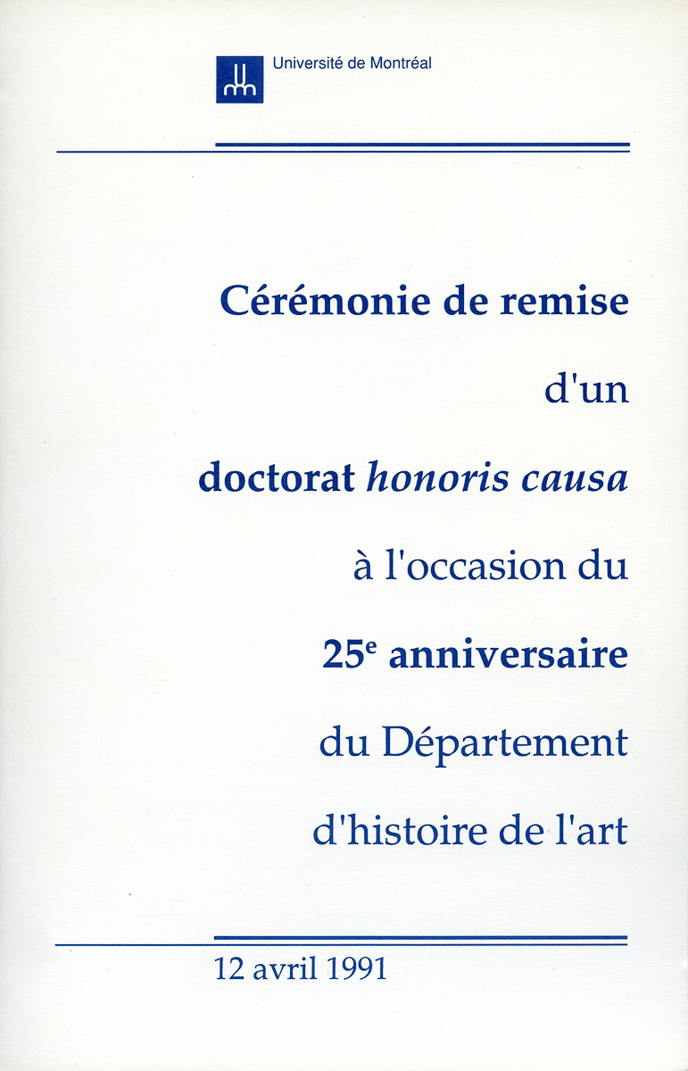University of Montreal Doctorate ceremony program, 1991