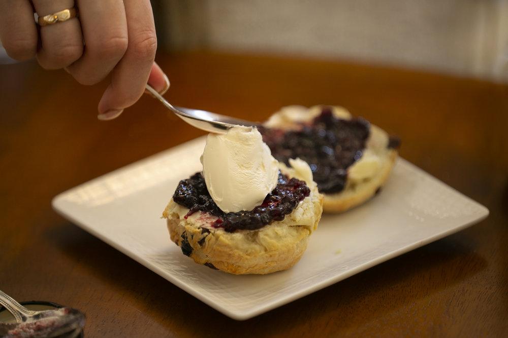 scones, devonshire cream and jam
