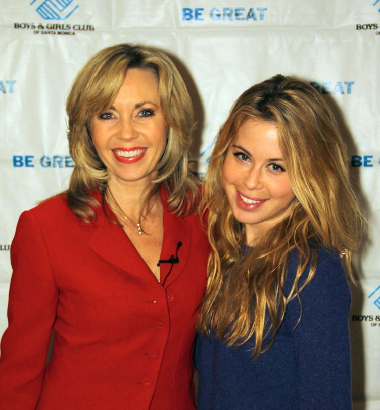 "Emcee Deb Carson with Olympic Gold Medalist Tara Lipinski at Boys & Girls Club of Santa Monica's ""Youth of the Year"" Awards Banquet."
