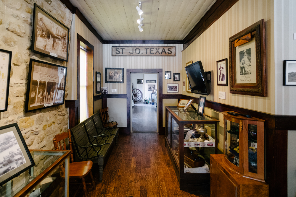 Located on the downtown square. built in 1873 and recently refurbished as a museum featuring numerous photos and exhibits depicting Saint Jo's history